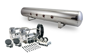 Tank & Dual 380s Combo Pack - Dual Viair 380C Chrome Air Compressors with Polished 5 Gallon Aluminum Tank